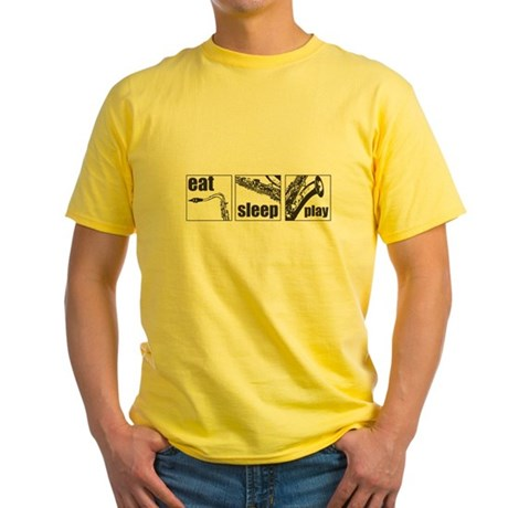Eat Sleep Play Sax Yellow T-Shirt