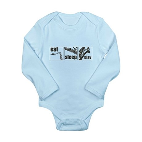 Eat Sleep Play Sax Long Sleeve Infant Bodysuit