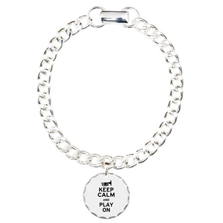 Keep Calm and Play On (Mellophone) Charm Bracelet,