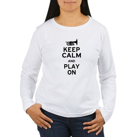 Keep Calm and Play On (Mellophone) Women's Long Sl