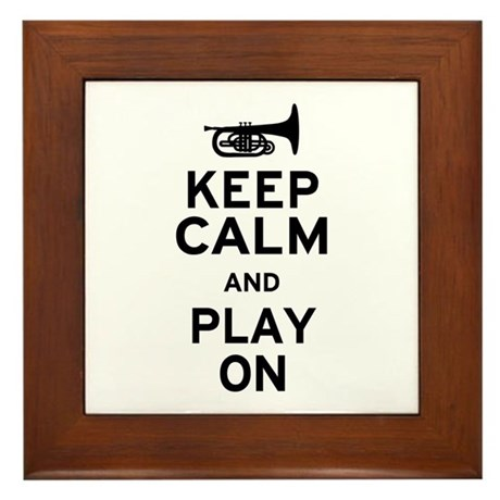 Keep Calm and Play On (Mellophone) Framed Tile