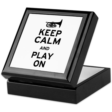Keep Calm and Play On (Mellophone) Keepsake Box
