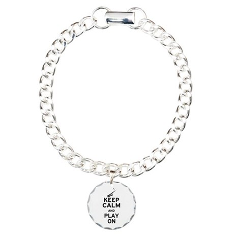 Keep Calm and Play On (Sax) Charm Bracelet, One Ch