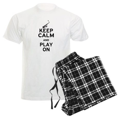 Keep Calm and Play On (Sax) Men's Light Pajamas