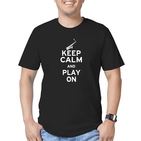 Keep Calm and Play On (Sax) Men's Fitted T-Shirt (
