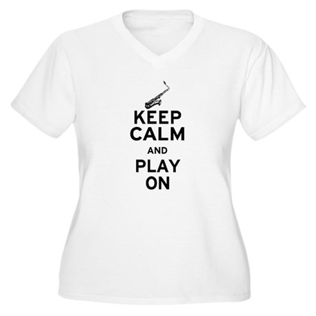 Keep Calm and Play On (Sax) Women's Plus Size V-Ne