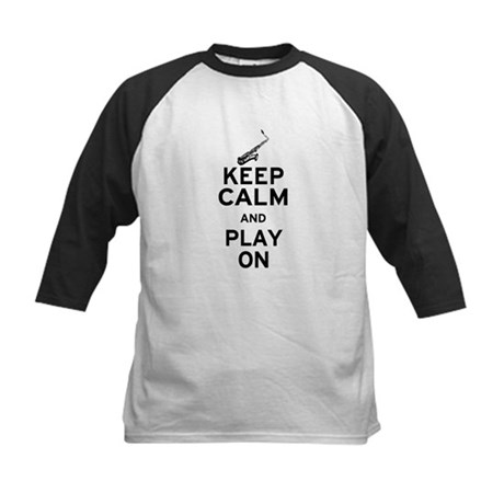 Keep Calm and Play On (Sax) Kids Baseball Jersey