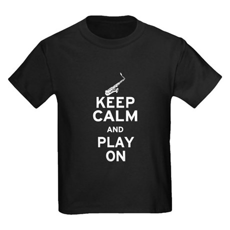 Keep Calm and Play On (Sax) Kids Dark T-Shirt
