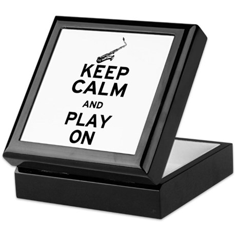 Keep Calm and Play On (Sax) Keepsake Box