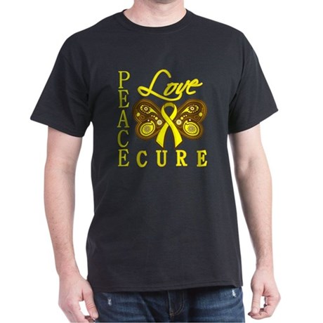 Bladder Cancer PeaceLoveCure Dark T-Shirt