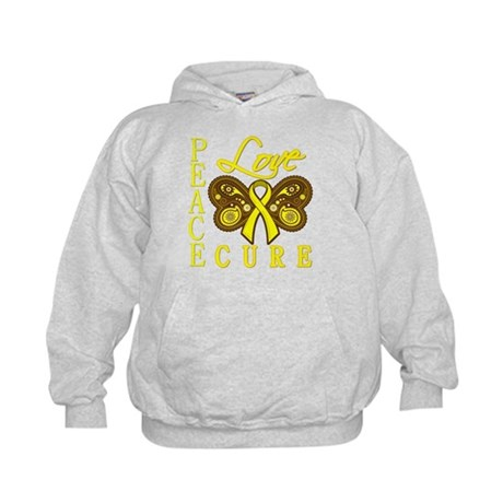 Bladder Cancer PeaceLoveCure Kids Hoodie