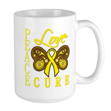 Bladder Cancer PeaceLoveCure Large Mug