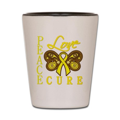 Bladder Cancer PeaceLoveCure Shot Glass