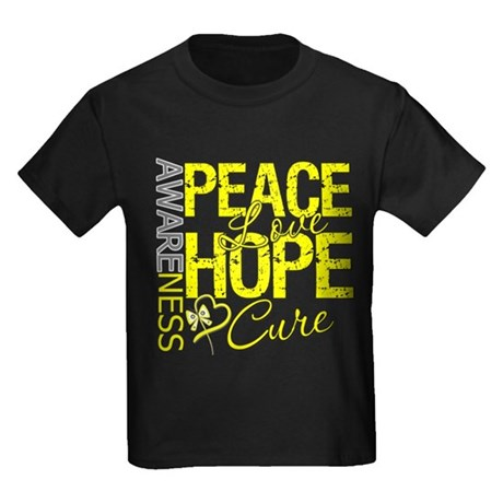 Bladder Cancer PeaceLoveHope Kids Dark T-Shirt