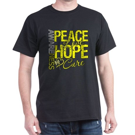Bladder Cancer PeaceLoveHope Dark T-Shirt