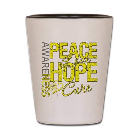 Bladder Cancer PeaceLoveHope Shot Glass
