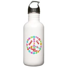 Flower Power Peace Sign Water Bottle