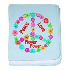 Flower Power Peace Sign baby blanket