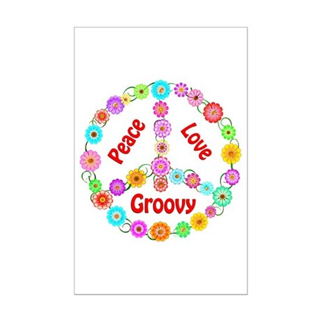 Groovy Peace Sign Mini Poster Print
