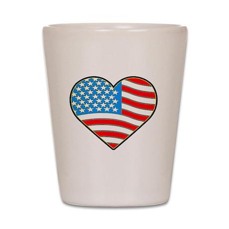 I Love America Flag Shot Glass