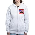Curly Coat with flag Women's Zip Hoodie