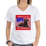 Curly Coat with flag Women's V-Neck T-Shirt
