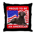Curly Coat with flag Throw Pillow