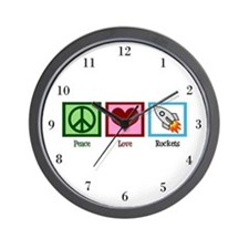 Peace Love Rockets Wall Clock