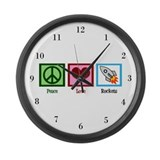 Peace Love Rockets Large Wall Clock