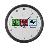 Peace Love Mustangs Large Wall Clock