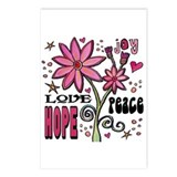 Peace Love Hope Flower Postcards (Package of 8)