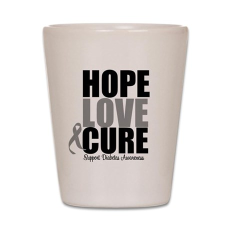 Diabetes Hope Love Cure Shot Glass