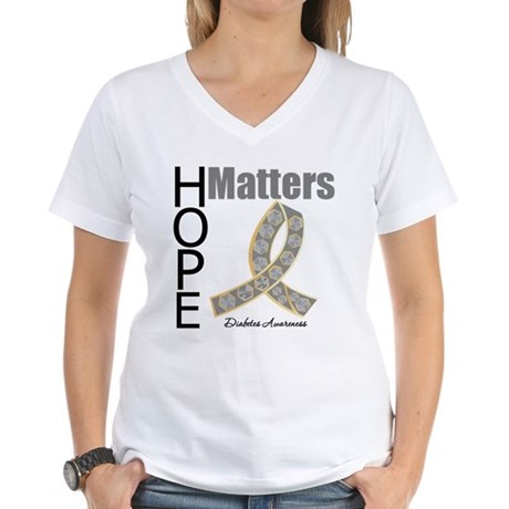 Diabetes Hope Matters Women's V-Neck T-Shirt