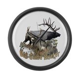 Big game elk and deer Large Wall Clock
