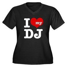I Love My DJ Women's Plus Size V-Neck Dark T-Shirt