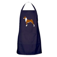 Red and White Basenji Apron (dark)