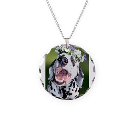 Smiling Dalmatian Dog Necklace Circle Charm