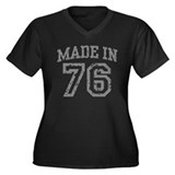 Made in 76 Women's Plus Size V-Neck Dark T-Shirt