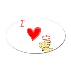 I Love Coffee in ASL 22x14 Oval Wall Peel