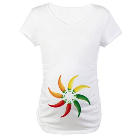 Hot Peppers Colorful Maternity T-Shirt