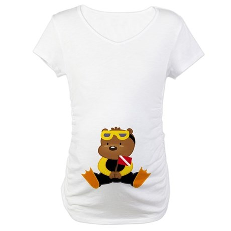 Cute Scuba Diver Teddy Bear Maternity Tee