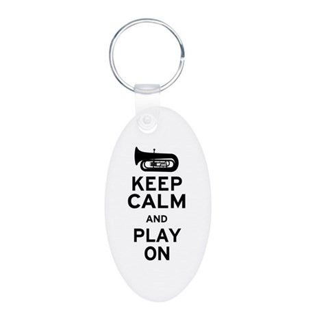 Keep Calm Tuba Aluminum Oval Keychain