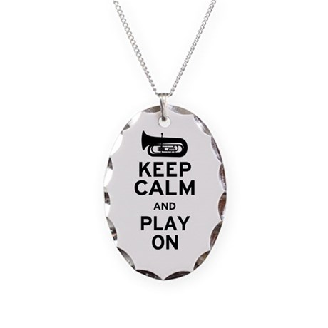 Keep Calm Tuba Necklace Oval Charm