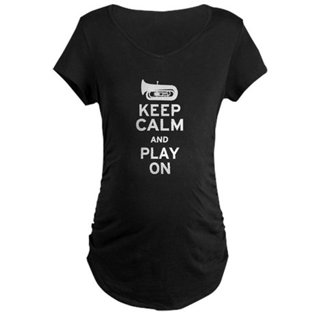 Keep Calm Tuba Maternity Dark T-Shirt