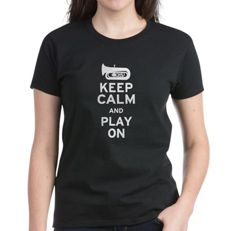 Keep Calm Tuba Women's Dark T-Shirt