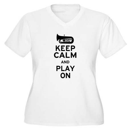 Keep Calm Tuba Women's Plus Size V-Neck T-Shirt
