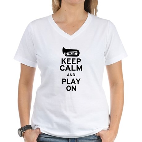 Keep Calm Tuba Women's V-Neck T-Shirt