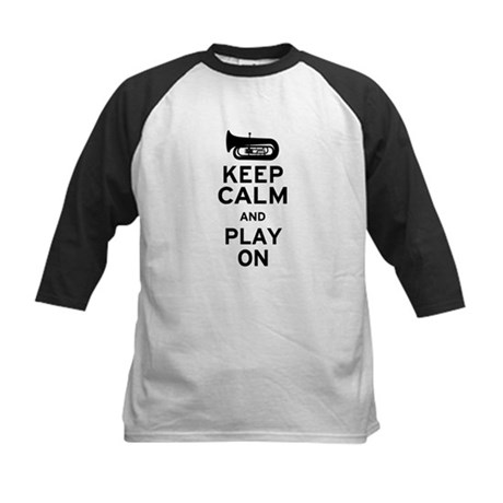 Keep Calm Tuba Kids Baseball Jersey