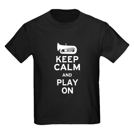 Keep Calm Tuba Kids Dark T-Shirt