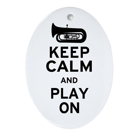Keep Calm Tuba Ornament (Oval)